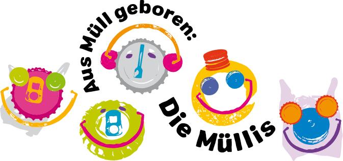 Logo Müllis - Kronkorken und anderer Müll grafisch aufbereitet und zu Gesichtern zusammengesetzt.