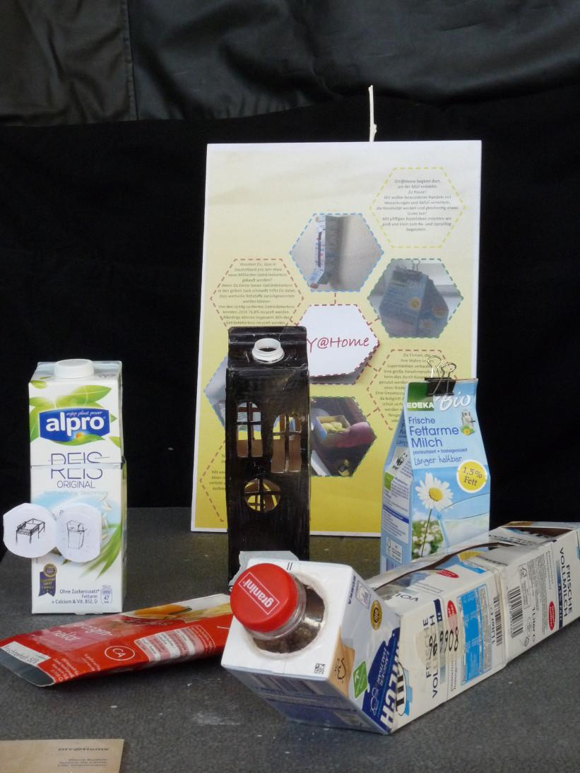 Gestaltungsanleitungen für Verbundstoffe, Getränkeverpackungen auf einem Beipackzetten, angebracht auf Verpackungen